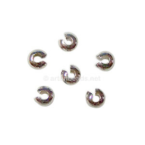 Crimp Cover - White Gold Plated - 4mm - 50pcs