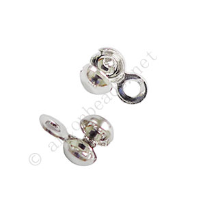 Knot Cover - White Gold Plated - 3.2mm - 80pcs