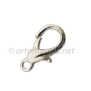 *Lobster Clasp - White Gold Plated - 22mm - 10pcs