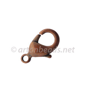 Brass Base Lobster Clasp - Antique Copper Plated - 19mm - 6pcs
