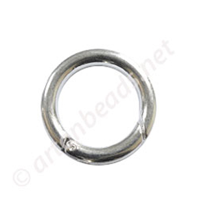 Round Shape Spring Ring Clasp - 925 Silver Plated - 25mm - 4pcs
