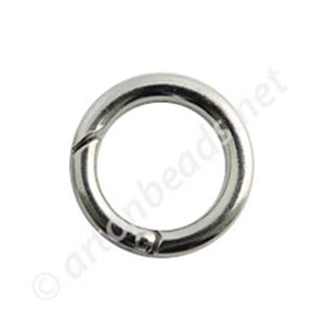 Round Shape Spring Ring Clasp - White Gold Plated - 25mm - 4pcs