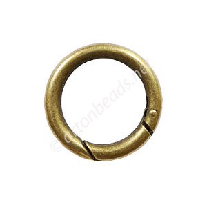 Round Shape Spring Ring Clasp - Antique Brass Plated - 25mm -4p
