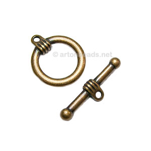 Toggle Clasp - Antique Brass Plated - 19mm - 3 Sets