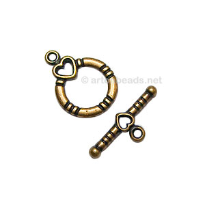 *Toggle Clasp - Antique Brass Plated - 13mm - 8 Sets
