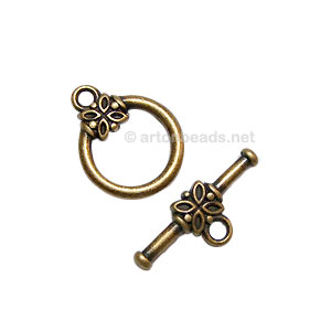 Toggle Clasp - Antique Brass Plated - 14mm - 6 Sets