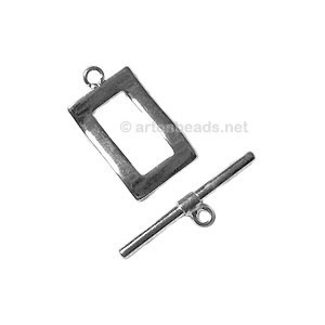 Toggle Clasp - 925 Silver Plated - 19.8x11mm - 2 Sets