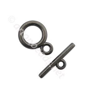 Toggle Clasp - Gun Metal Plated - 13.7mm - 10 Sets