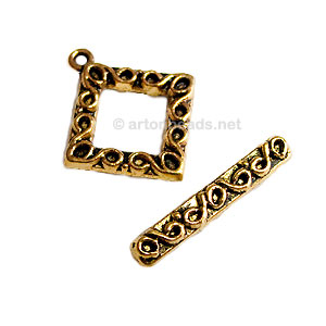 Toggle Clasp - Antique gold plated - 24x21mm - 5 Sets