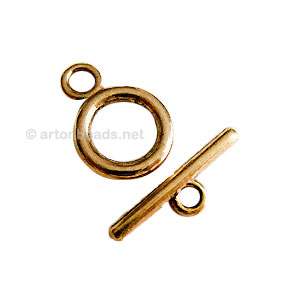Toggle Clasp - Antique gold plated - 14mm - 10 Sets