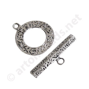 Toggle Clasp - Antique silver plated - 25mm - 5 Sets