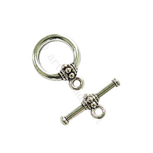 Toggle Clasp - Antique Silver Plated - 14.7mm - 6 Sets