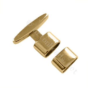 Glue End Clasp - 18k Gold Plated - ID 5x11mm - 3 Sets