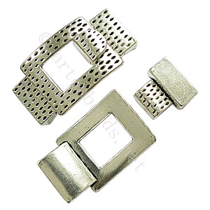 Glue End Clasp - Antique Silver Plated - ID 2x16mm - 2 Sets