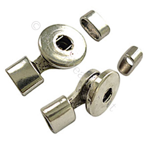 Glue End Clasp - Antique Silver Plated - ID 10x4.6mm - 1 Set