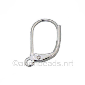 Earring Leverback - White Gold Plated - 15mm - 24pcs