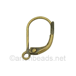 Earring Leverback - Antique Brass Plated - 15mm - 16pcs