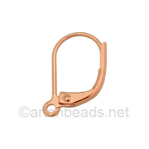 Earring Leverback - Rose Gold Plated - 15mm - 12pcs