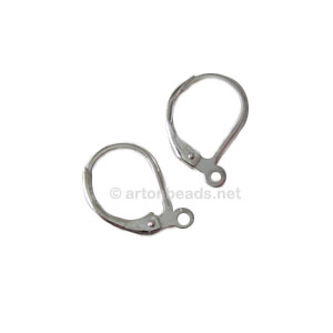 Earring Leverback - 925 silver plated - 15mm - 50pcs