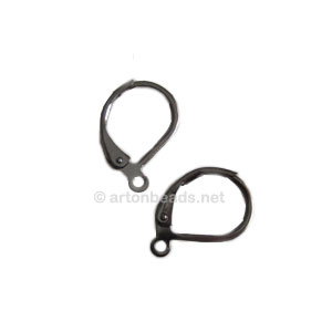 Earring Leverback - Gun metal plated - 15mm - 50pcs