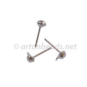 Earring Post - White Gold plated - 4mm - 50pcs