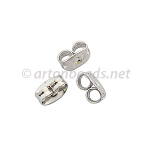 Earring Back - White Gold Plated - 4.5x6mm - 100pcs