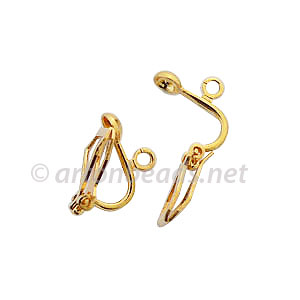 Clip On Earring - 18k Gold Plated - 13x8.7mm - 10pcs