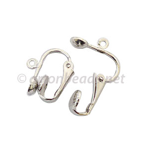Clip On Earring - White Gold Plated - 15.5x13mm - 6pcs