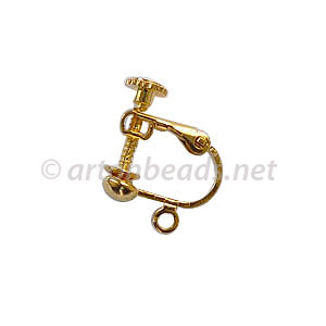 Screw On Earring - 18k Gold Plated - 13.8x17mm - 6pcs