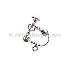 Screw On Earring - 925 Silver Plated - 13.8x17mm - 6pcs