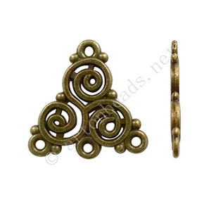 Chandelier - Antique Brass Plated - 3 Holes - 19.5x19mm-10pcs