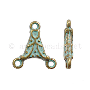 Chandelier - Bronze/Green Patina - 2 Holes - 13.9x12.7mm-20pcs