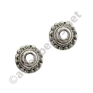 Bead Cap - Antique Silver Plated - 3.1x7.3mm - 50pcs