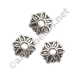 Bead Cap - Antique Silver Plated - 2.1x7.8mm - 60pcs