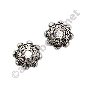 Bead Cap - Antique Silver Plated - 3.8x9mm - 25pcs