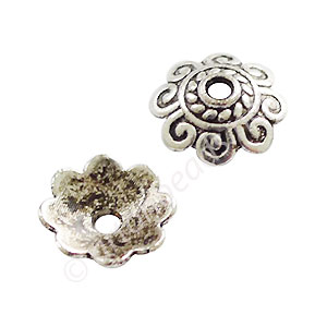 Bead Cap - Antique Silver Plated - 2.3x8mm - 50pcs