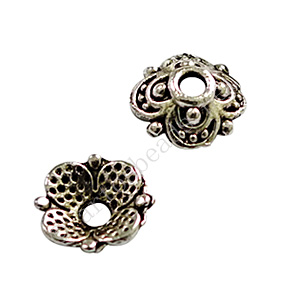 Bead Cap - Antique Silver Plated - 2.6x8mm - 50pcs