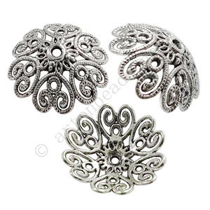 *Bead Cap - Antique Silver Plated - 9.2x28mm - 3pcs