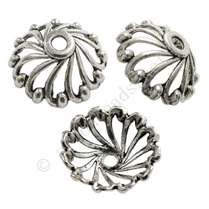 Bead Cap - Antique Silver Plated - 10x28mm - 2pcs