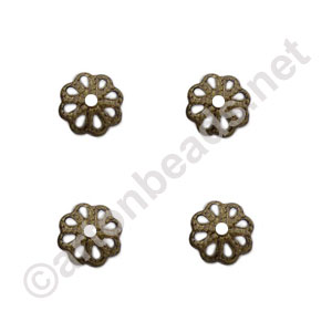 Bead Cap - Antique Brass Plated - 6mm - 100pcs