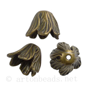 Bead Cone - Antique Brass Plated - ID 11.7mm - 4pcs