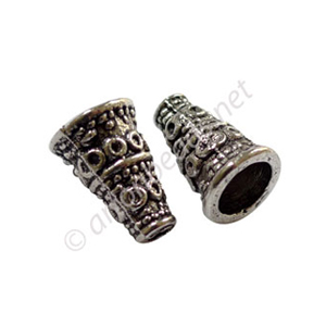 Bead Cone - Antique Silver Plated - 10.3x7.3mm - 20pcs