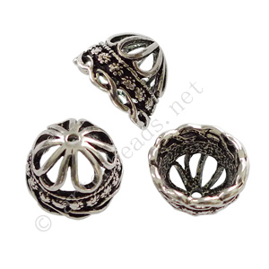 *Bead Cone - Antique Silver Plated - 13.6x13.5mm - 4pcs