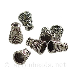 Bead Cone - Antique Silver Plated - 7.8x5.8mm - 25pcs