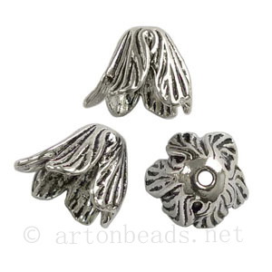 Bead Cone - Antique Silver Plated - ID 11.7mm - 4pcs