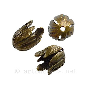 Bead Cone - Antique Brass Plated - 17x15mm - 2pcs