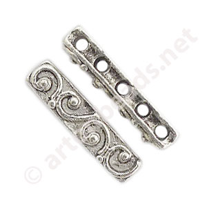 Divider - Antique Silver Plated - 5 Holes - 19.8x4.4mm - 8pcs