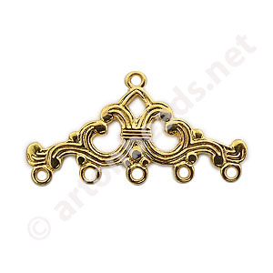 Multi-Strand End Bar-18k Gold Plated-5 Holes-31.7x16.4mm
