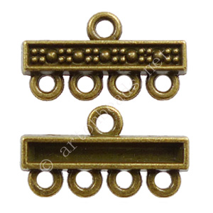 Multi-Strand End Bar- Antique Brass Plated -4 Holes-22.3x12mm