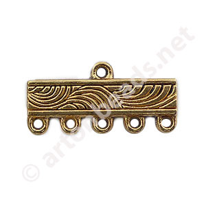 Multi-Strand End Bar-Antique Gold Plated-5 Holes-22.2x10.7mm